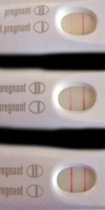 Pictures of an evaporation line on a home pregnancy test